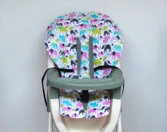 Graco baby accessory cotton high chair cover, chair protector, replacement baby feeding chair cushion, kids chair pad, pink elephants