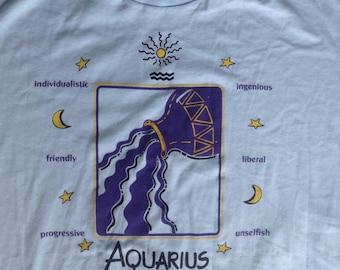 Vintage Aquarius Zodiac sign nightgown long t shirt USA