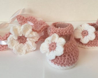 Crocheted Ankle Strap Booties, Mary Janes, Shoes with Flower & Matching Headband - Newborn to 12 Months - Any Color