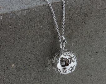 Silver Cutout Bell Ball Necklace
