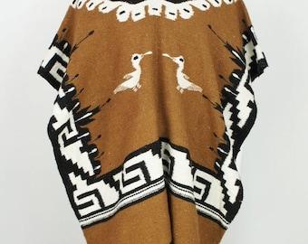Vintage Ethnic Folk Wool Poncho all Size