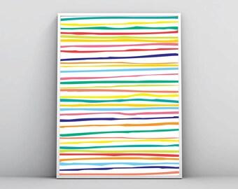 Horizontal Lines Print, Geometric Wall Art, Large Printables, Rainbow Colors, Colorful Stripes, Minimal Poster Design, Digital Download