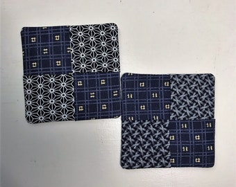 Quilted Coasters, Japanese Pattern, Set of 2