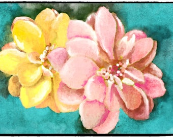 Light Orange large flower and Beautiful Pink blooming flower, Digital print of a chalk pastel painting