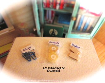 Miniature school supplies  -scale 1:12-Dollhouse miniatures