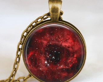 Nebula necklace , Rosette nebula jewelry Galaxy necklace bronze  pendant necklace for men women