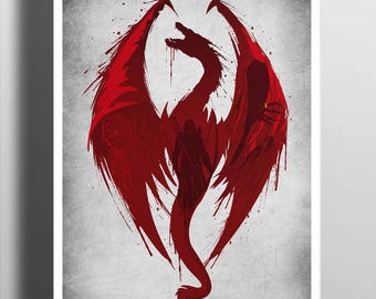 Dragon's Bane Tee /  Skyrim &  Dragon Age T-shirt / Smaug / Video Games  / The Hobbit /  Gandalf / Sauron / Free Shipping worldwide.