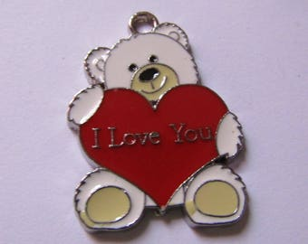 Pendant white beige and Red Teddy bear heart 31mmx23mm