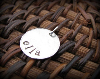 ONE Small Hand Stamped Sterling Silver Disc