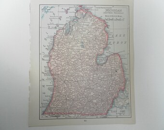 Southern Peninsula of Michigan Vintage Map 1899