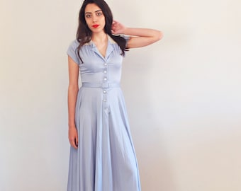 Vintage 60s 70s Pale blue Button down shirtwaist dress, collar lace short sleeve dress size Small, Boho midi mid length skater skirt fit top