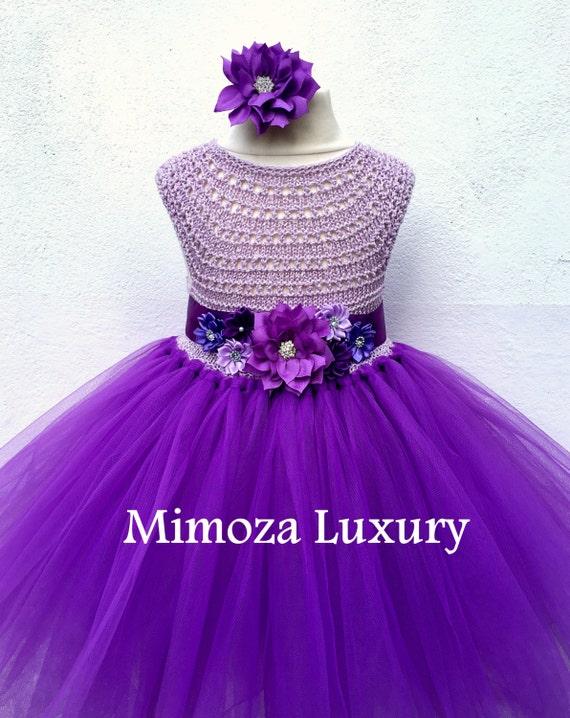 Purple Flower girl dress, purple tutu dress, bridesmaid dress, purple princess dress, crochet top tulle dress, hand knit top tutu dress