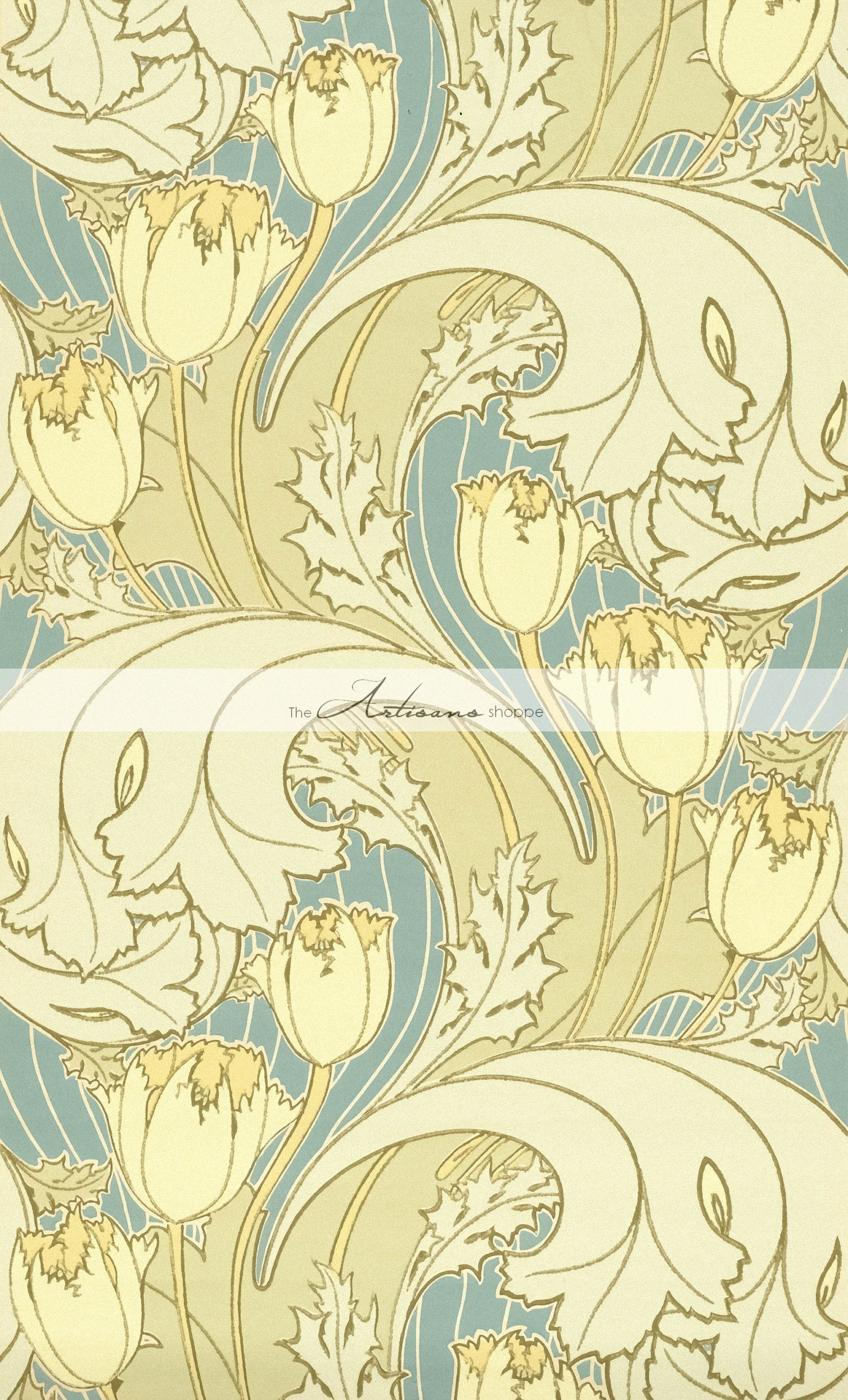 Tulip Flower Art Nouveau Design Wallpaper Background Antique Vintage ...