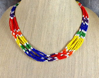 Seed Bead Necklace, Rainbow, Multistrand Necklace, Beaded Necklace, Pride Necklace, Rainbow Necklace, Glass Bead Necklace, Colorful