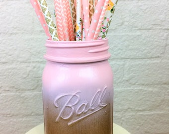 Gold Metallic and Baby Pink Ombre Painted Pint Mason Jar
