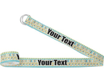 Teal Circles & Stripes Yoga Strap (Personalized)
