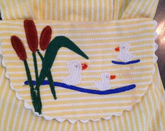 Vintage Heircraft Freitag Baby Duck and Cattail Romper Sunsuit Outfit