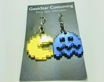 Retro classic Pac Man lasercut geek jewelry, arcade geek earrings, GeekStar exclusive