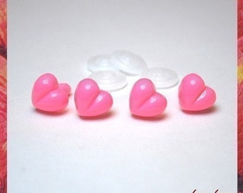 13 mm PINK Safety Plastic Heart Noses for Stuffed animals Cat toys amigurumi - 4 pcs