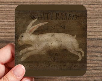 White Rabbit Easter Drink Coaster  (4 coasters in a set)