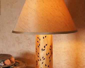 Leafy Lamp/Rustic Hand-Crafted Aspen Lamp/Hand Wood-Burned Leaf Design/Log Lamp/Rustic Lamp/Rustic Decor