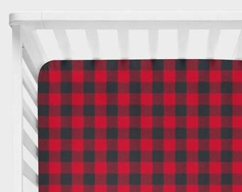 Buffalo Plaid Crib Sheet, Lumberjack Baby Nursery Bedding, Fitted Sheet, Rustic Crib Bedding, Buffalo Check Gingham Woodland Black Red