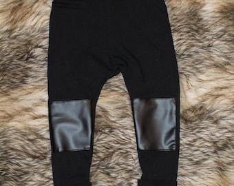 Legging baby - leggings-child evolutive pants - trousers - faux leather - faux leather