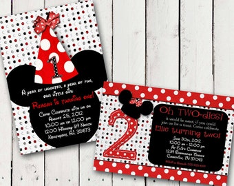 Red Minnie Mouse Custom Birthday Printable Disney Invitations