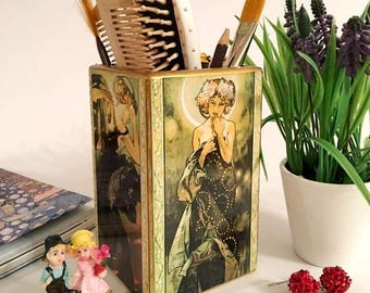 Alphonse Mucha Makeup Organizer Wood Gift For Women Makeup Brush Holder From The Series The Moon And The Stars Womens Gift Birthday Gift