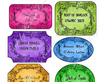 Instant digital download 7 Halloween bottle labels stickers apothecary