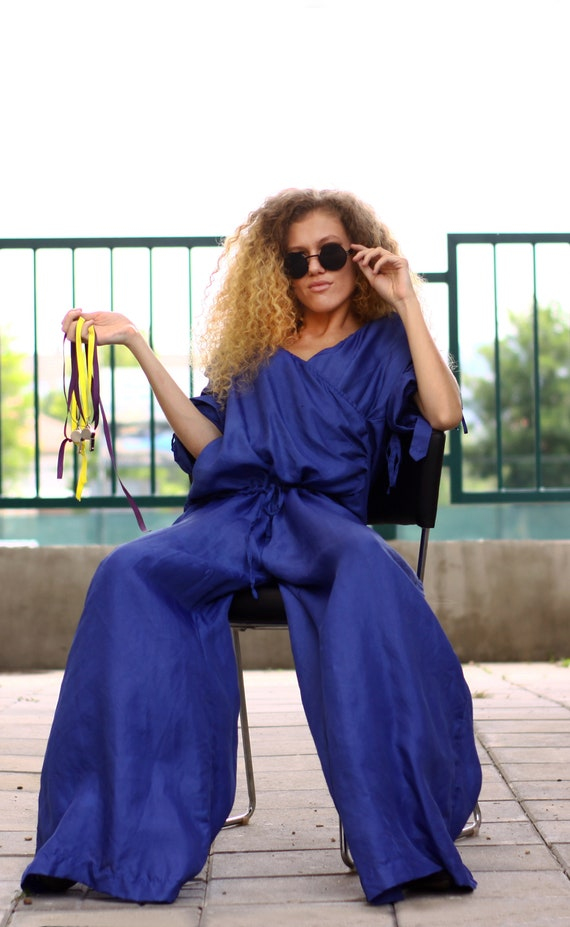 Garde Silk Indigo Extra Clothing Avant Flared Wrap Romper Jumpsuit Woman Jumpsuit Romper Oversized Bfvfd4qw