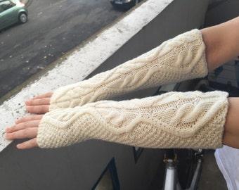 Off white merino wool fingerless gloves made to order