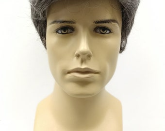 Short Salt And Pepper Gray Men's Wig. Men's Side Part Wig. Synthetic Fashion Wig. [89-454B-Don-44]