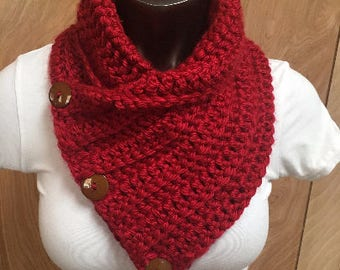 Crochet chunky cowl scarf with buttons