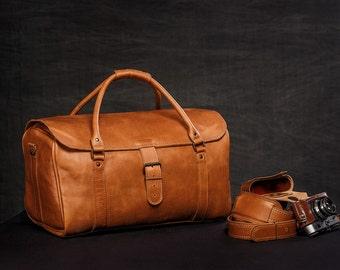 """Leather Travel Bag 20"""" / Leather Duffle Bag / Leather Sports Bag / Gym Bag / Cabin Travel Bag / Weekender Bag / Overnight Bag / Leather Bag"""