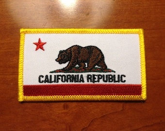"Embroidered Patch California State Flag 2""x3.5"""