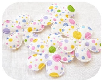 SET OF 4 FLOWER APPLIQUES WHITE SEWING MULTICOLORED POLKA DOT FABRIC