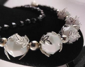 Black and White Necklace, Bracelet, Earring Set