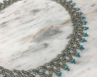 Silver and blue seed bead choker