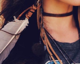 Long Boho Earrings, Leather Earrings, Mink Earrings, Bohemian Style, Stevie Nicks Style, Boho Festival Jewelry, Long Earrings, Leather 2790