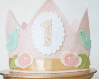 Grow-with- Me Girl First BIRTHDAY CROWN - Shabby Chic pink & gold Flowers and Birds