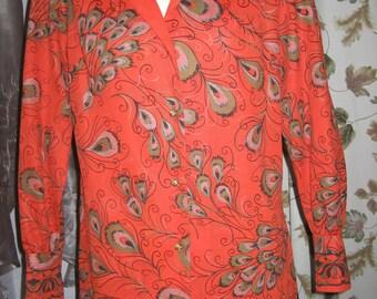 60s Bernardo Red Blouse With Peacock Print Vintage