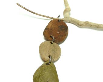Beach Stones TOTEM Genuine Pebbles River Rocks Connections Long Charm Dangle Jewelry DIY Nature Lover Rustic Organic Tribal