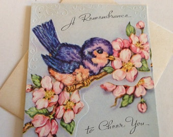 Vintage greeting cards etsy vintage birthday or sympathy greeting card blue bird of happiness birthday gift enclosure unused m4hsunfo Image collections