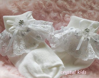 Unique Baby Girls White Silver Lace Frilly Lacy Christening Wedding Party Socks 0-6 months, 6-12 months, 12-24 months, 2-4 years
