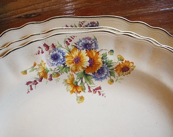 Three Antique Floral Platters
