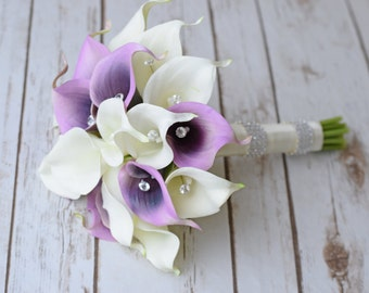 Silk Flower Wedding Bouquet - Lilac Purple Violet Calla Lilies Natural Touch with Crystals Silk Bridal Bouquet
