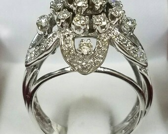 Vintage ,antique,14kt white gold statement diamond ring. One of a kind!!!!
