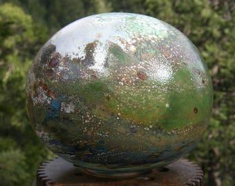 Flat GlassBalloon- Hand Blown Glass Garden Art, Mesmerizing, interesting, glass yard art, glass garden art, organic, glass orb, planerty