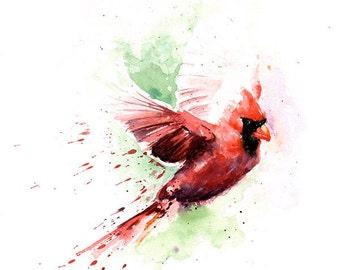 CARDINAL ART PRINT - cardinal painting, watercolor cardinal print, cardinal lover gift, cardinal decor, cardinal wall art, bird art print